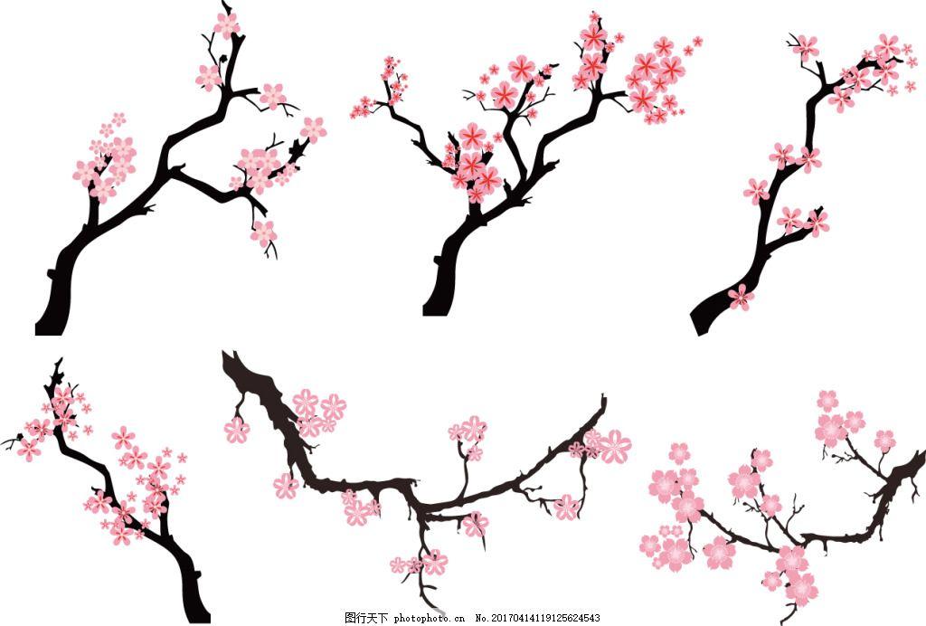 手绘樱花桃花