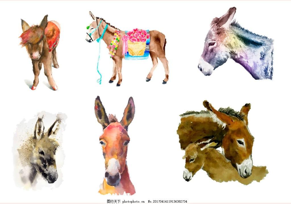 梦幻 唯美 水彩 水彩图案 驴 水彩动物 动物素材 动物 手绘动物 矢量