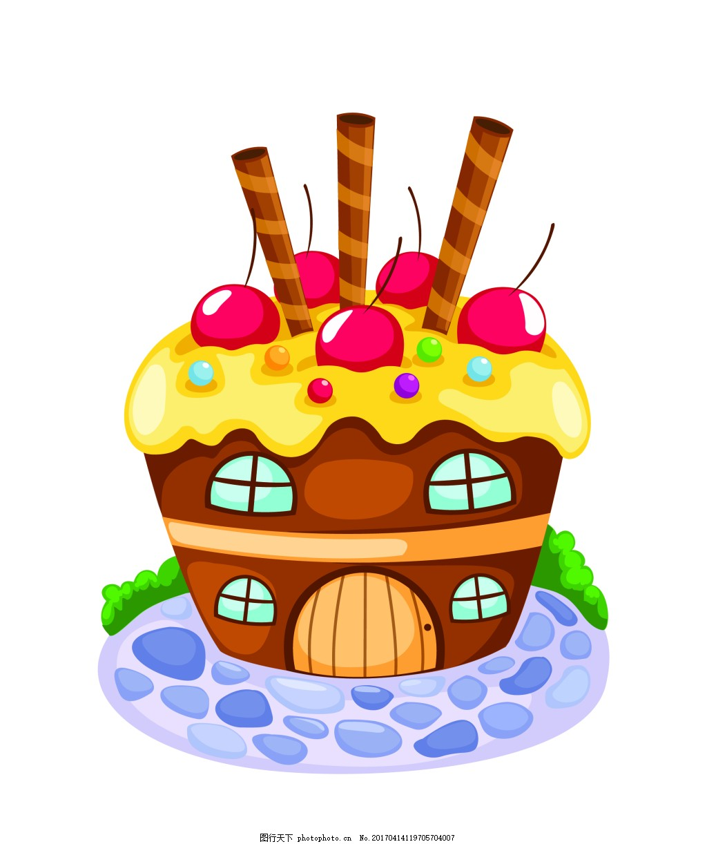 矢量蛋糕房子eps 花纹花边 可爱动物 墙贴 墙画 儿童矢量素材 卡通