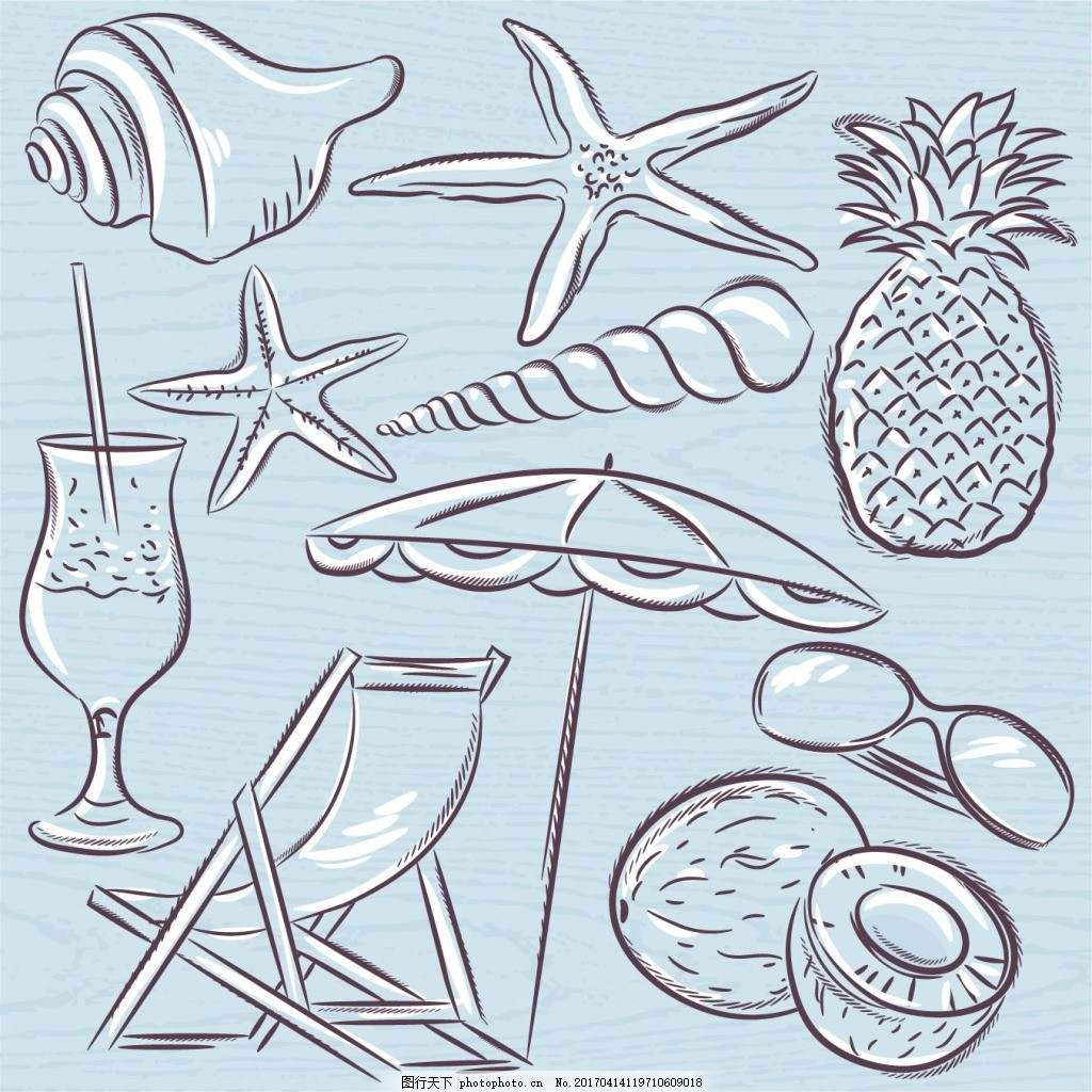 手绘海洋元素图案矢量素材下载 海星 菠萝 遮阳伞 椰子