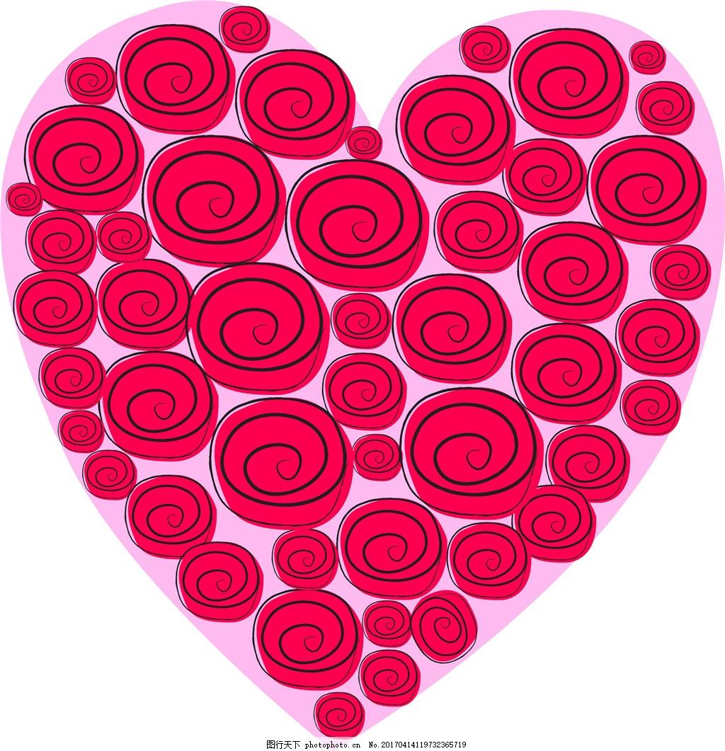 创意玫瑰爱心素材 爱心素材 爱心 玫瑰 玫瑰花 手绘花卉 矢量素材
