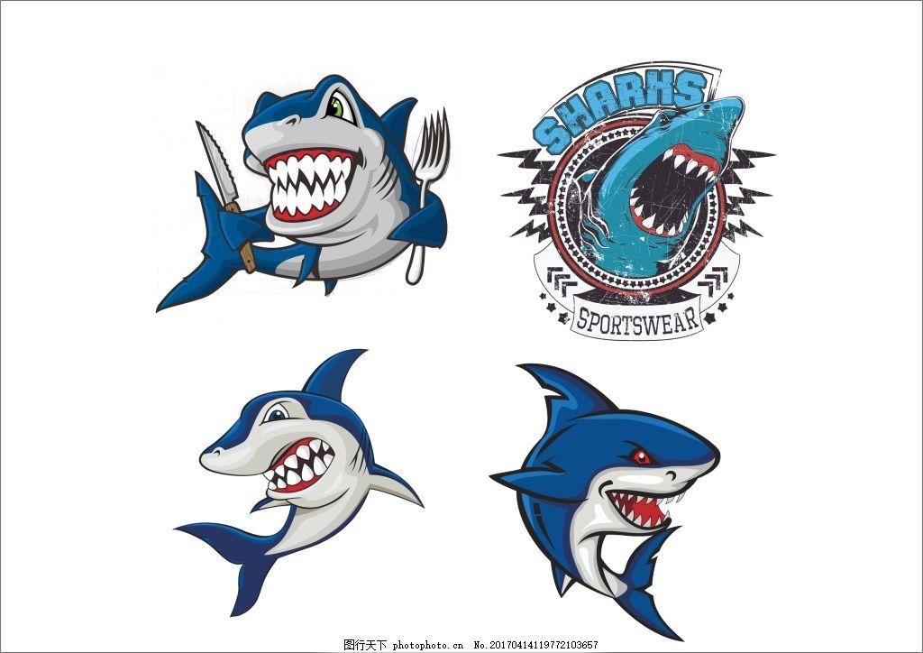 卡通手绘鲨鱼 鱼类