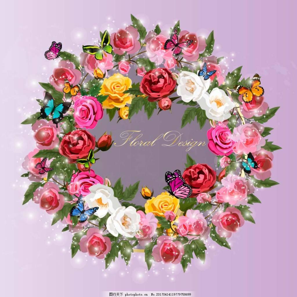 彩色玫瑰花蝴蝶结矢量素材下载