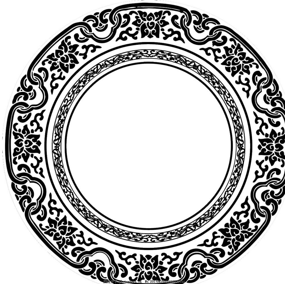 圆形花纹框 中国风 圆形框 古典花纹 古代风边框 吉祥风