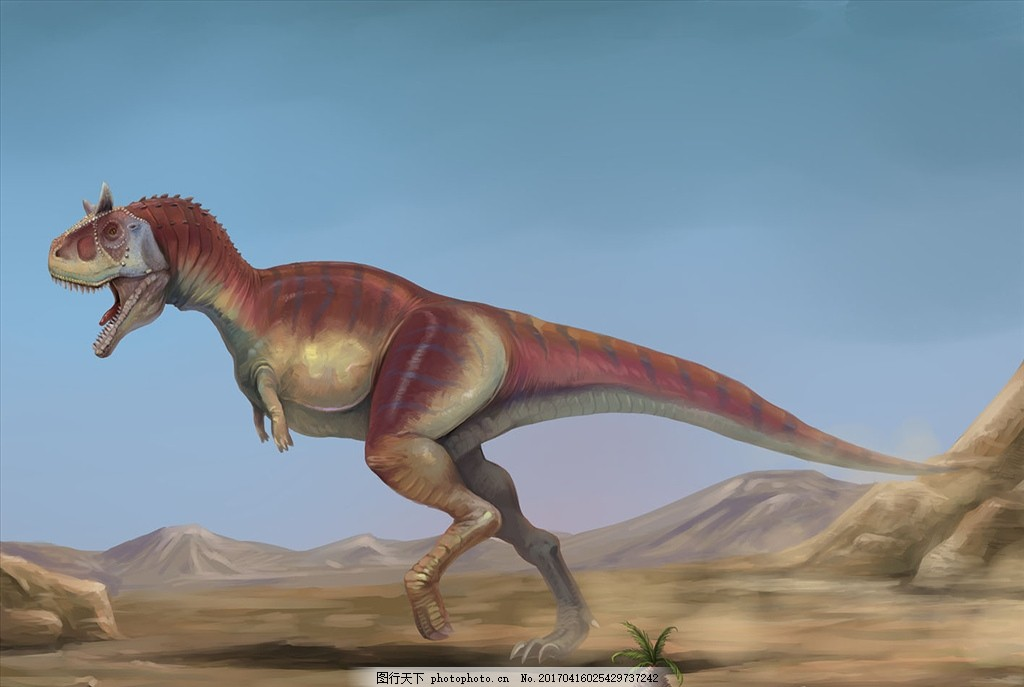食肉牛龙 恐龙 怪兽 插画 原画 爬行动物 食肉龙