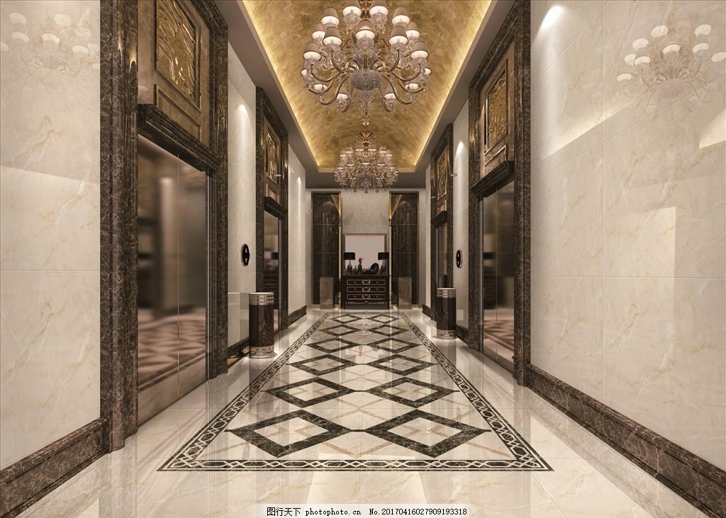 酒店走廊效果图 陶瓷 瓷砖 磁砖 欧式 铺贴效果 微晶石 全抛釉