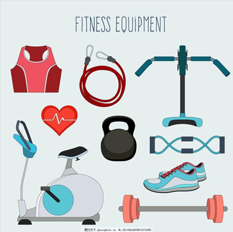 卡通女性健身器材元素