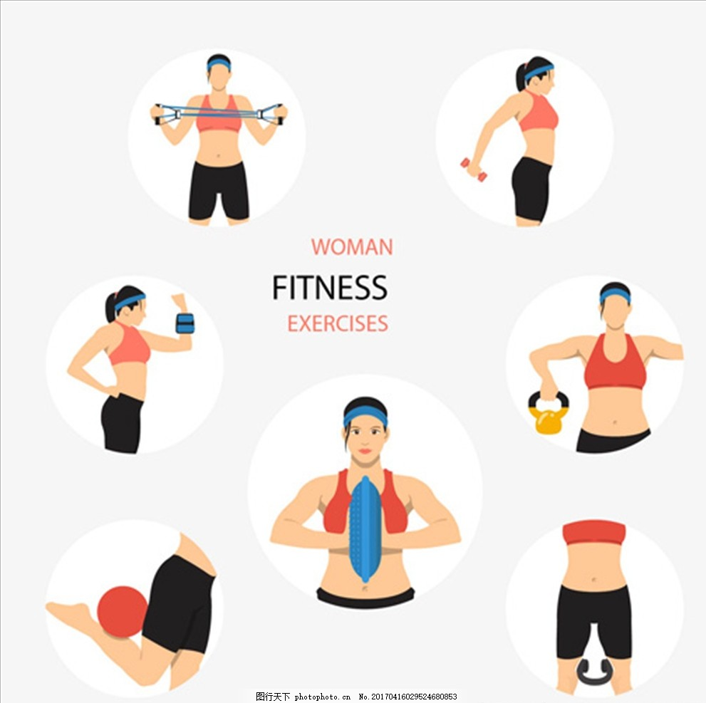 卡通女子健身项目