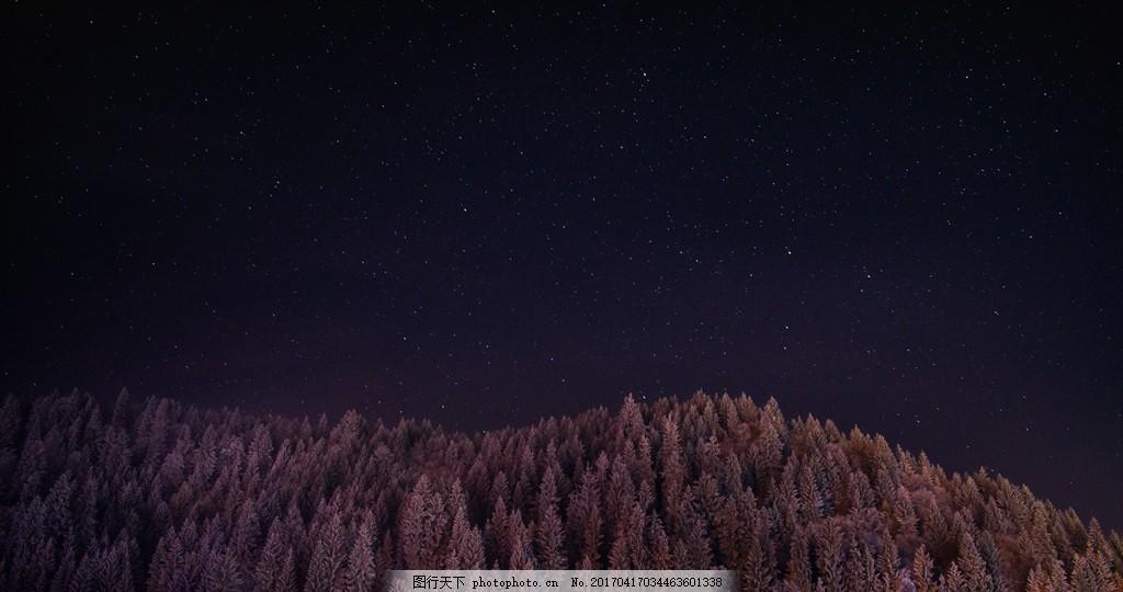 夜晚繁星 星星 星空 夜 山脉 繁星 摄影 自然景观 山水风景 72dpi jpg