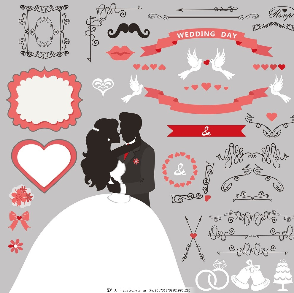 手绘婚纱新娘 卡通婚纱新娘 婚纱新娘图标 手绘矢量图