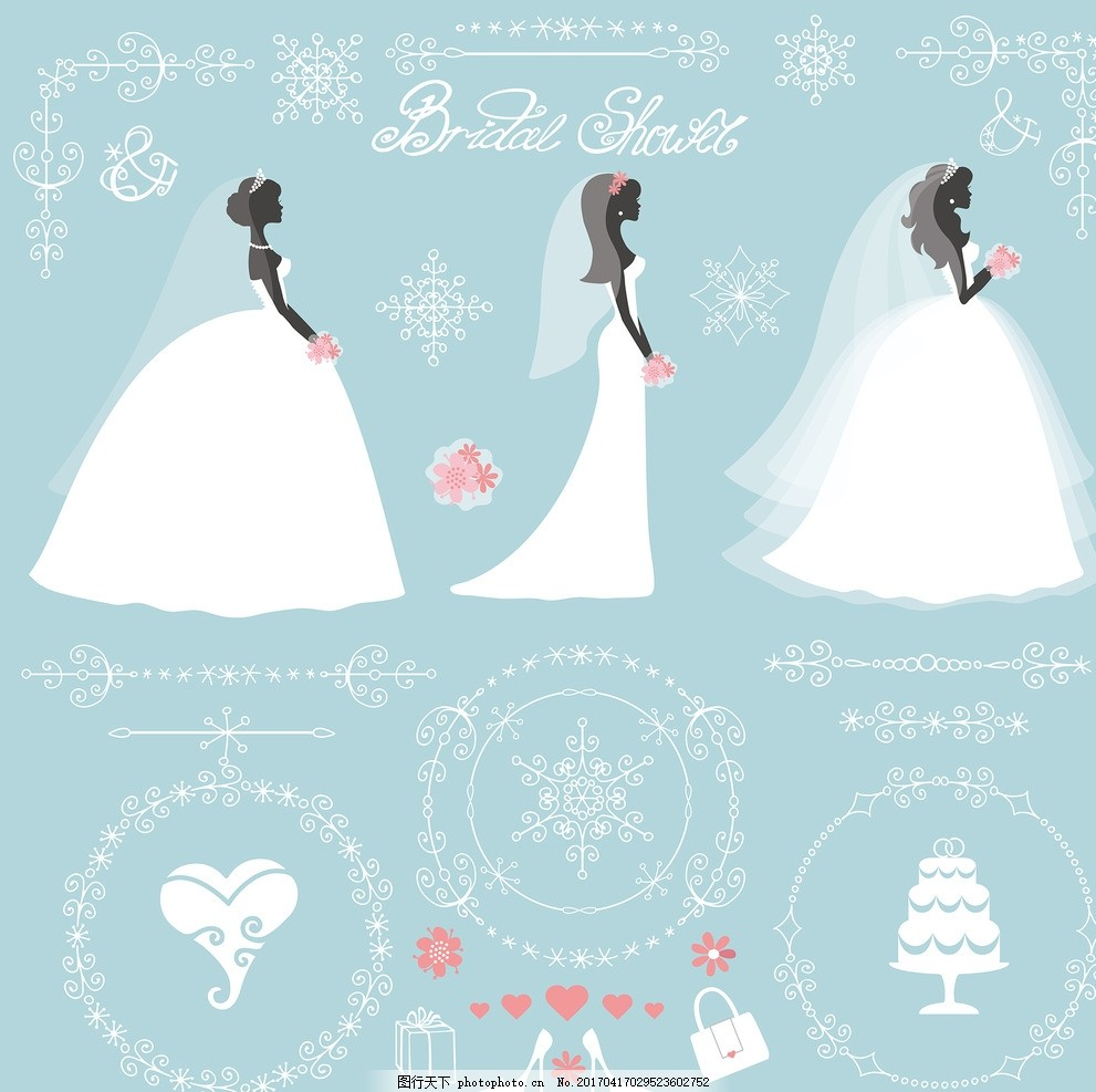 婚礼花卉矢量素材 手绘婚纱新娘 卡通婚纱新娘 婚纱新娘图标 手绘矢量图