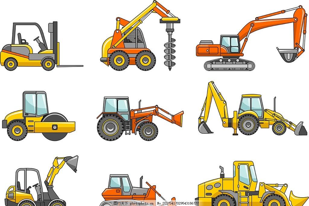 挖水漫画_矢量挖掘机图片_设计案例_广告设计_图行天下图库