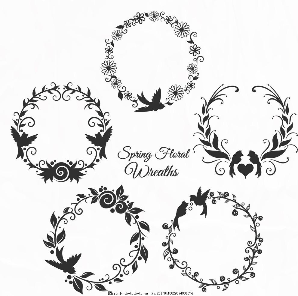 婚礼设计 底纹背景 花纹花边 图框 花朵 标题框 主题框 文本框 花圈