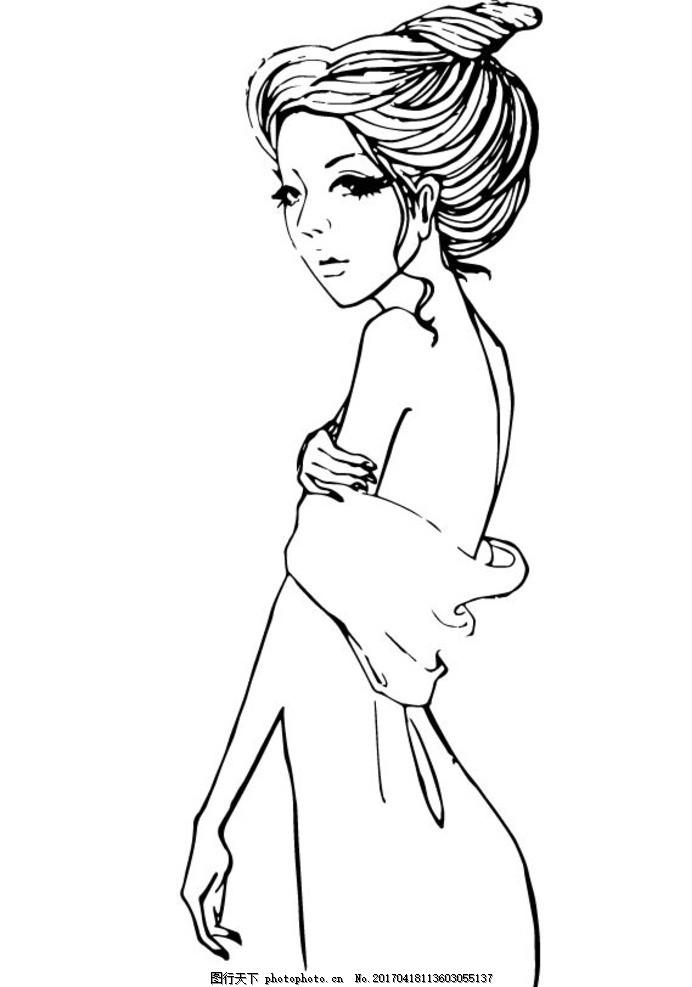 女孩 卡通 简笔画 黑白 矢量 美女 漫画 动漫 可爱 萌 性感 日本 和服