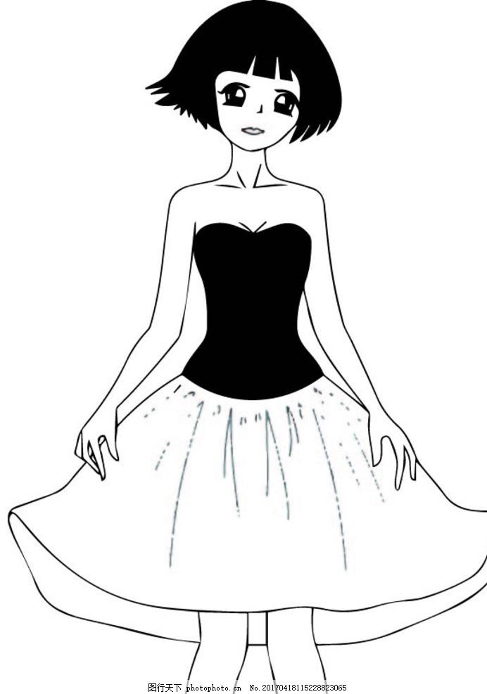 女孩 卡通 简笔画 黑白 矢量 美女 漫画 动漫 可爱 萌 动漫动画