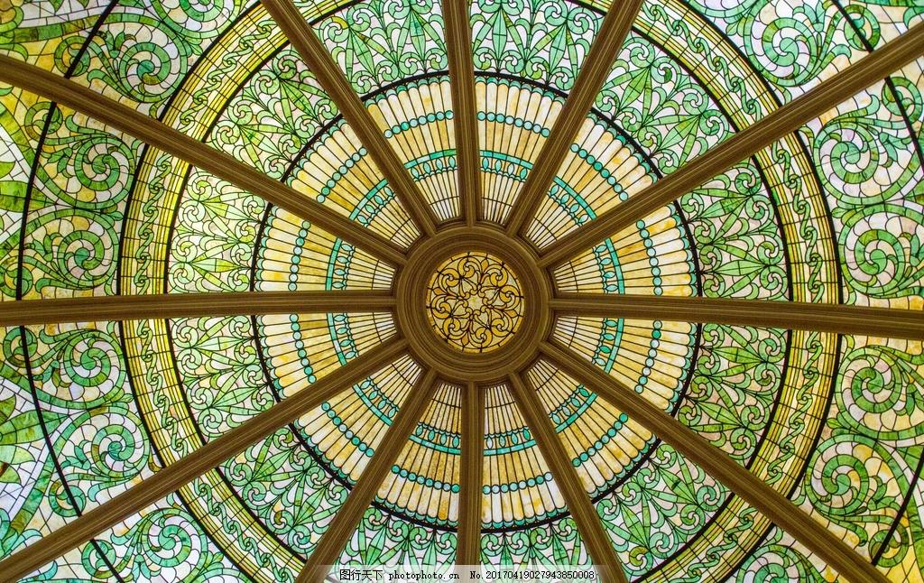穹顶 玻璃屋顶 彩色玻璃屋顶 教堂屋顶 欧式穹顶 摄影 建筑园林 室内