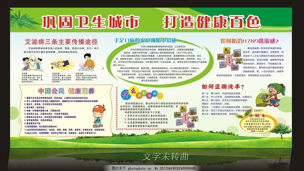 禽流感 洗手法 职业病 健康教育 卫生城市 设计 广告设计 展板模板