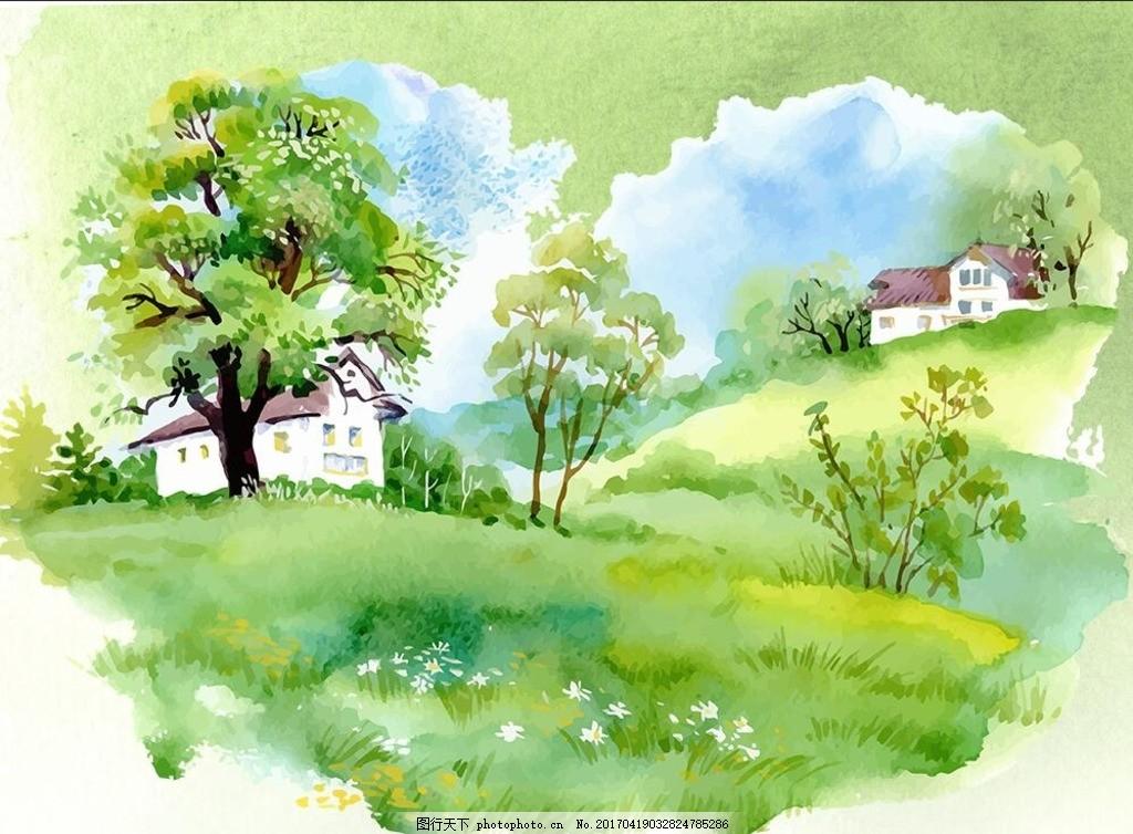 乡间小路水彩画步骤图