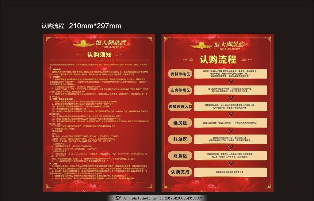 单页 展架 认购须知 地产 房地产 红色 恒大 设计 广告设计 dm宣传单