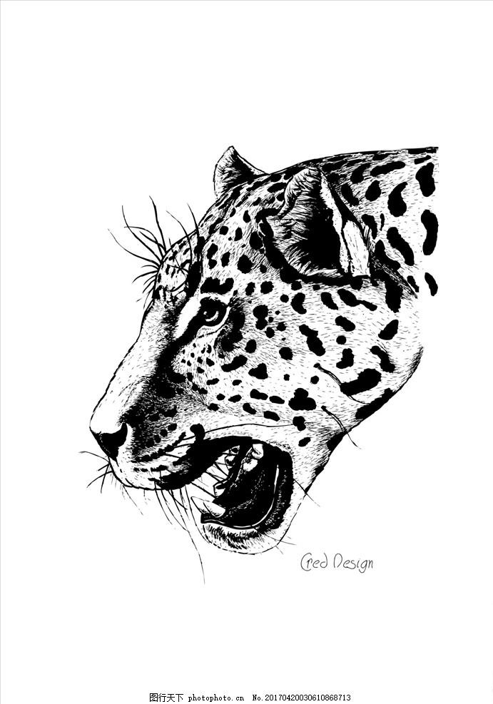 手绘写实豹子头图案矢量 潮牌设计 图案设计 男装设计 女装设计