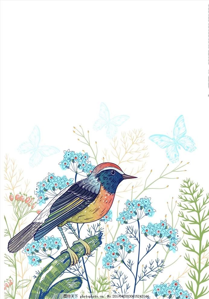 手绘卡通小鸟图案 牡丹 牡丹花 鹦鹉 鹦鹉图案 鸟矢量图 花鸟