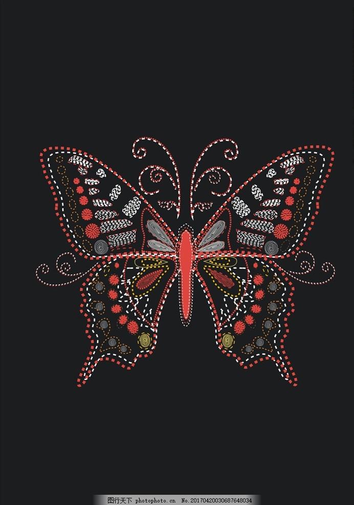 蝴蝶刺绣绣花图案 蝴蝶图案 卡通蝴蝶 手绘蝴蝶 彩色蝴蝶 奇才蝴蝶