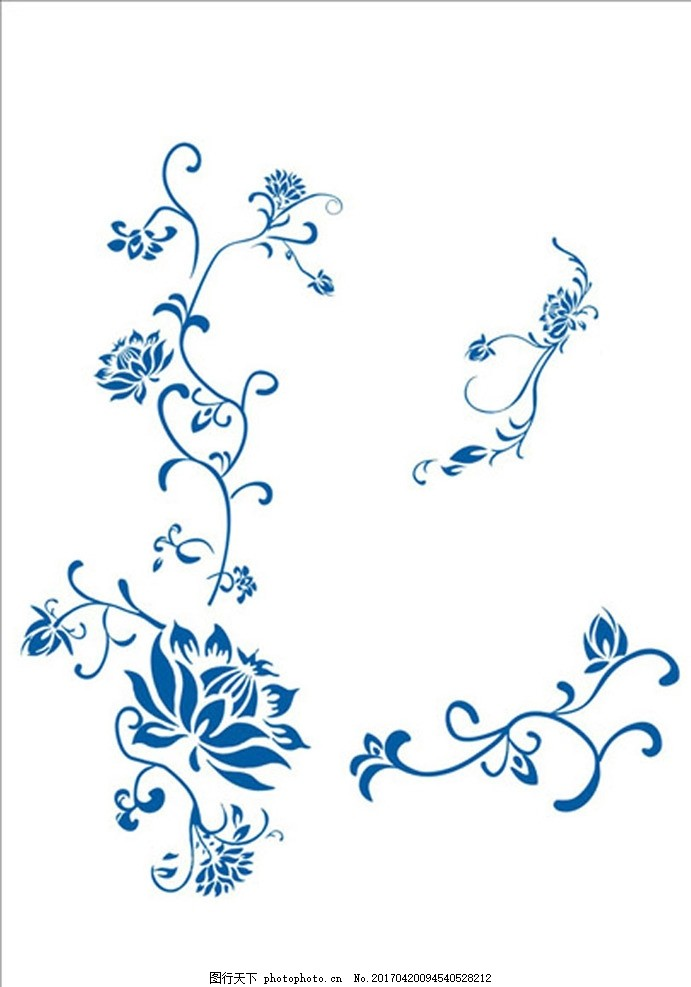 青花瓷花纹 底纹 青花瓷 花纹 底纹 荷花 青花底纹 设计 底纹边框
