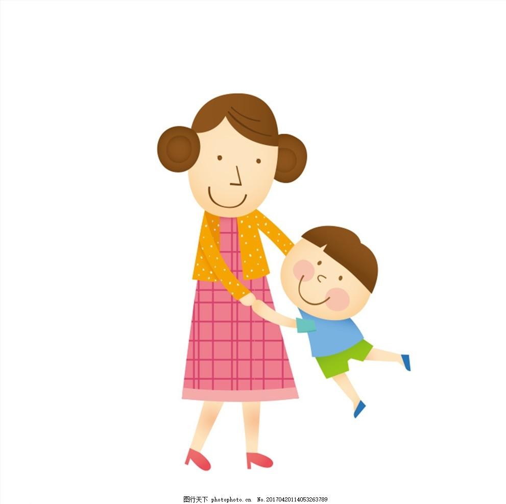 卡通母子矢量图 母亲节 孩子 家庭人物 卡通人物 母亲 母子 设计 动漫