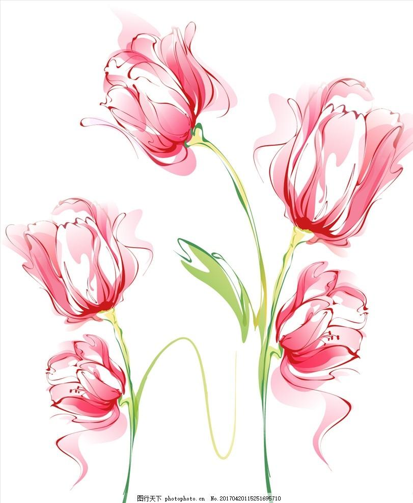 矢量手绘康乃馨水彩画