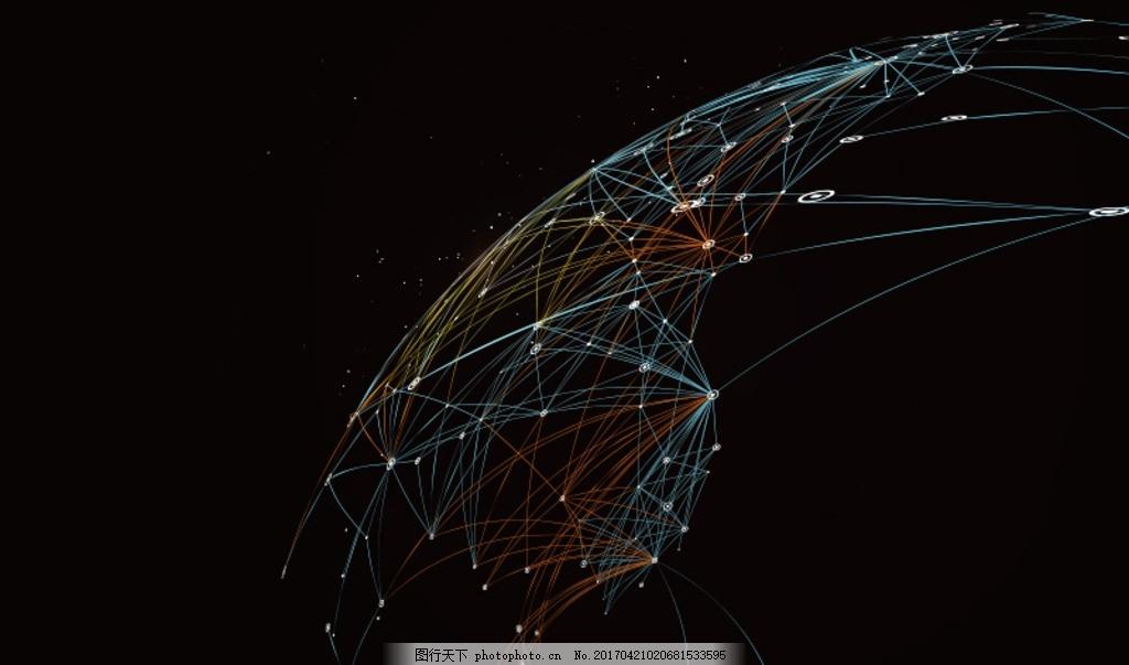 矢量粒子和线条深色背景 电子背景 科技电子 纹理