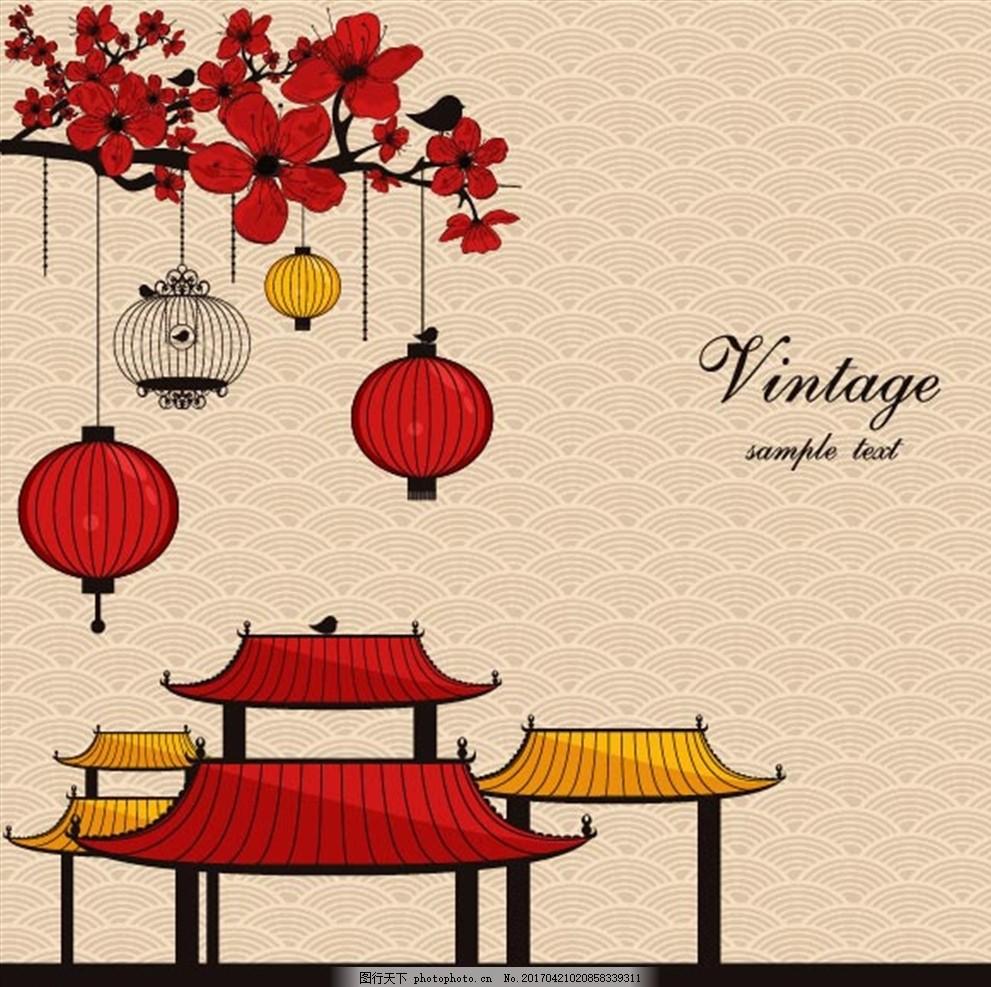 古典元素 古建筑 手绘 灯笼 花朵 背景图 中国元素 中国风 其他素材