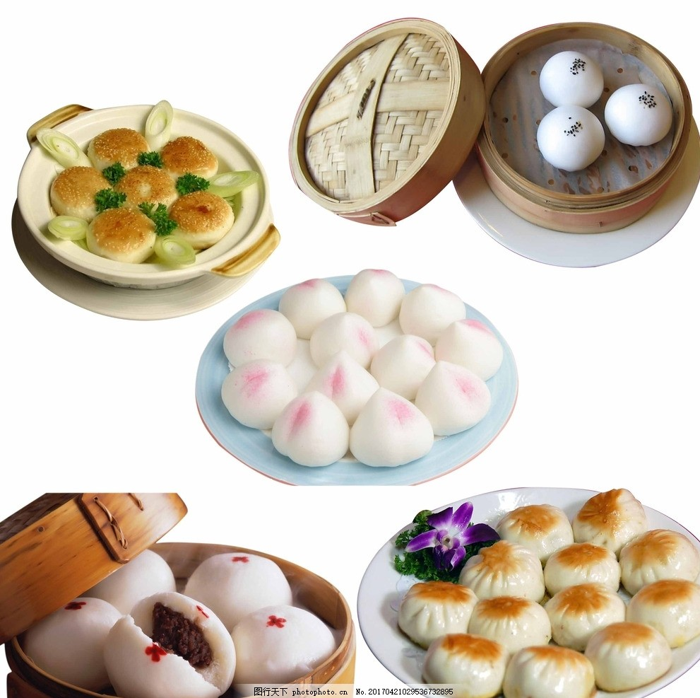 面食 美味 面食大全 面食素材 馒头 豆沙包 寿桃 煎饺 馅饼