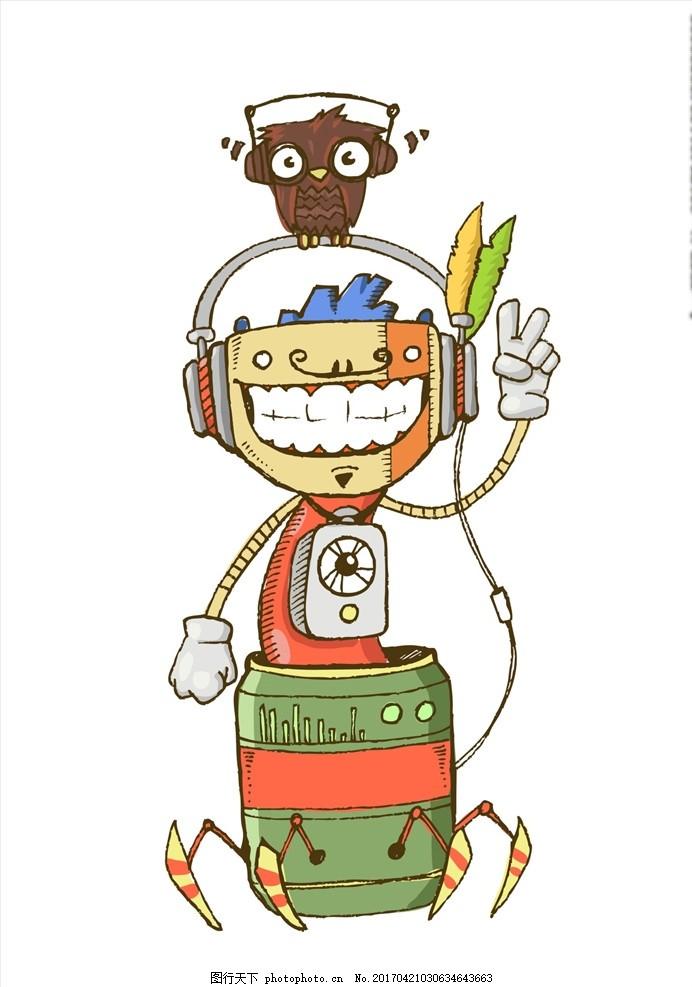 可爱卡通动物,机器人 音乐 耳机 耳机矢量图 听音乐