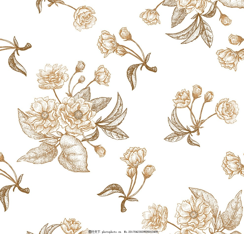 现代花纹矢量 花朵 欧式 美式 古典 北欧 鸟 蜂鸟 郁金香 手绘 矢量