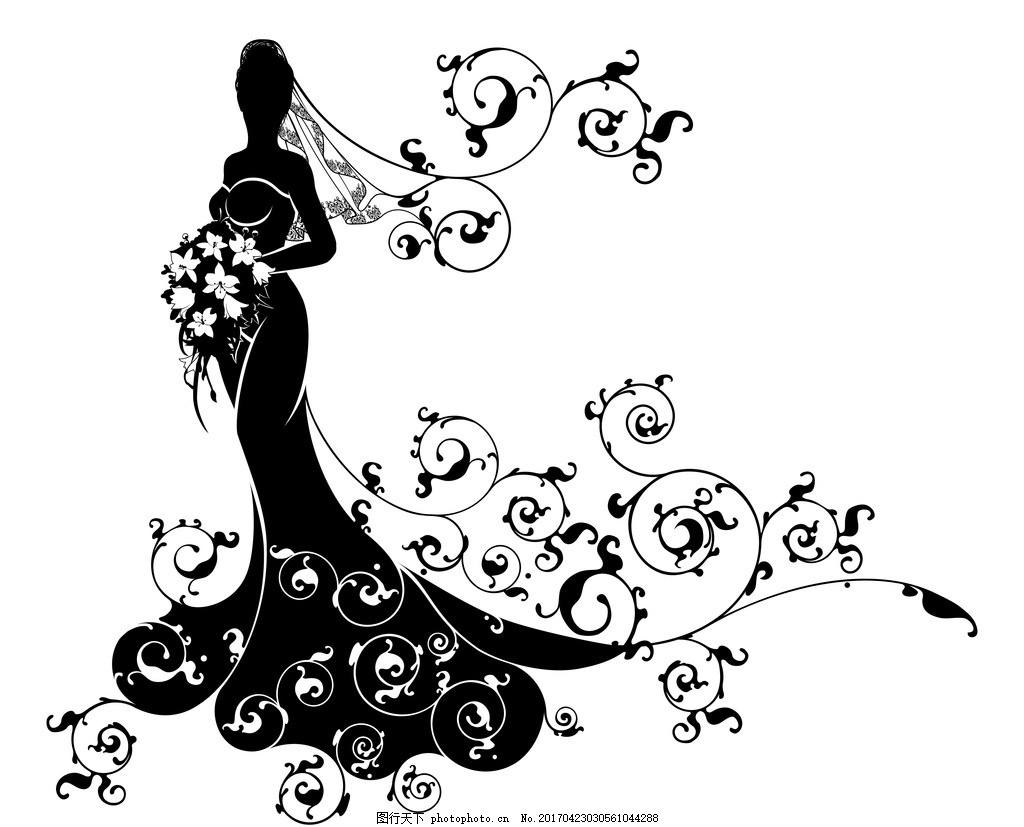 婚纱男女剪影 新郎新娘 婚礼 矢量 礼服