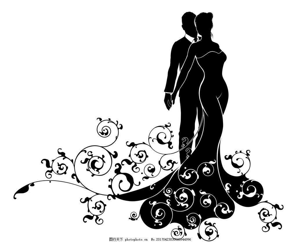 婚纱男女剪影 新郎新娘 剪影 婚礼 矢量 礼服 卡通设计 设计 广告设计
