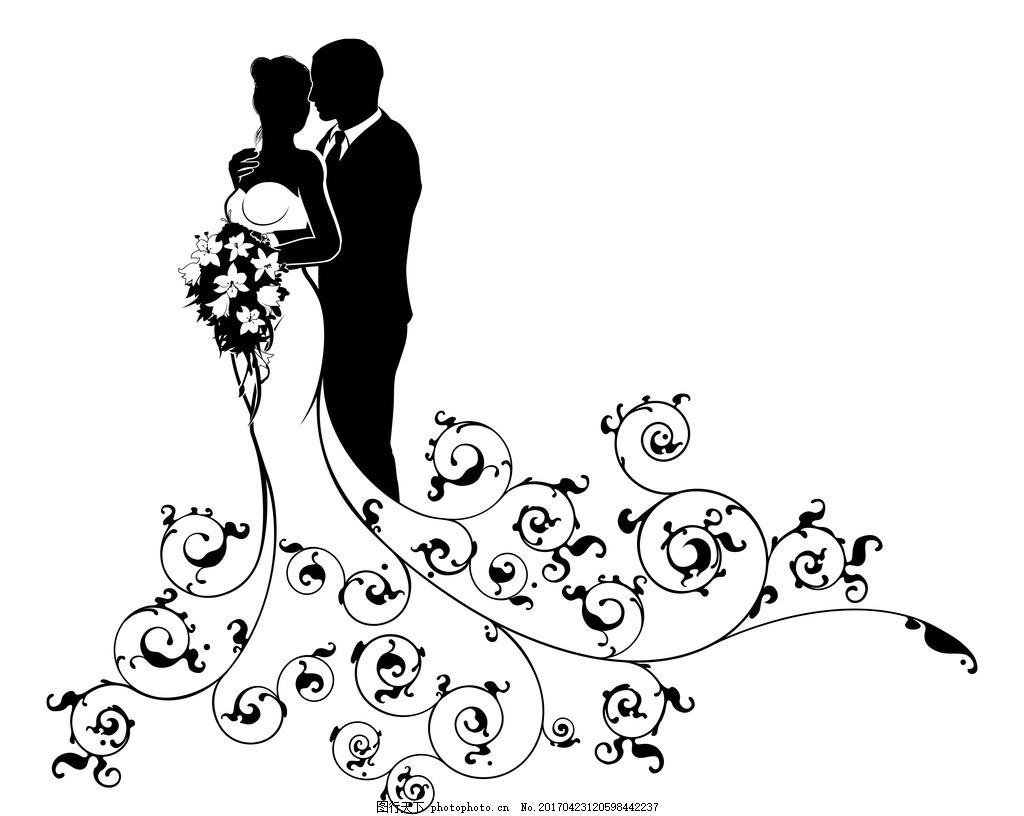 婚纱男女剪影 新郎新娘 婚礼 矢量 礼服 卡通设计 广告设计
