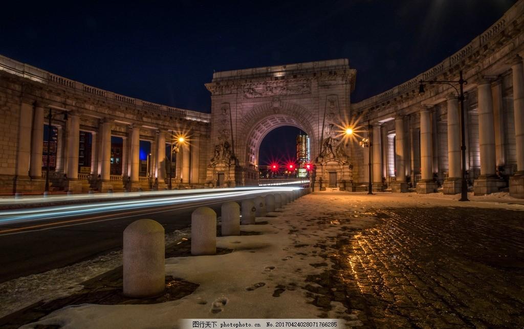 欧式建筑 罗马柱 凯旋门 欧式城门 夜景 摄影 建筑园林 建筑摄影 240