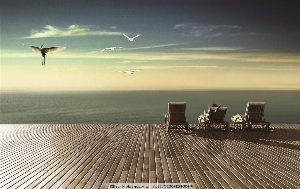 度假 风景 休闲 木地板 房地产 海景 天空 度假村 温泉 别墅