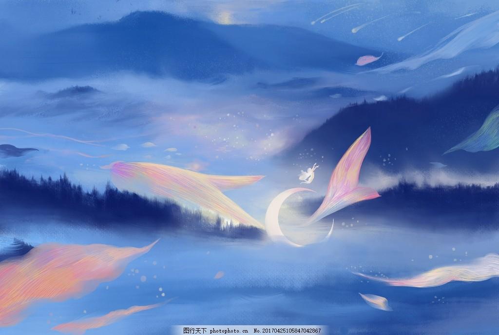 设计图库 现代科技 服装设计  手绘鲸鱼壁纸 动漫风景 蓝天 白云 鲸鱼