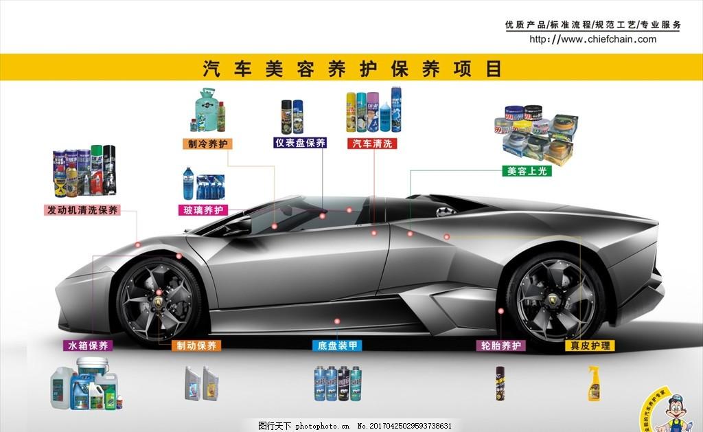 汽车美容 美容项目 汽车护理 车内清洗 清洁 cdr设计 海报设计 广告
