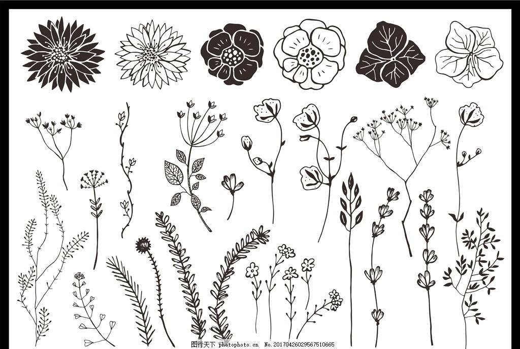 文艺手绘花草 黑白花草花纹 图案 底纹边框 花边花纹 黑白花草剪影