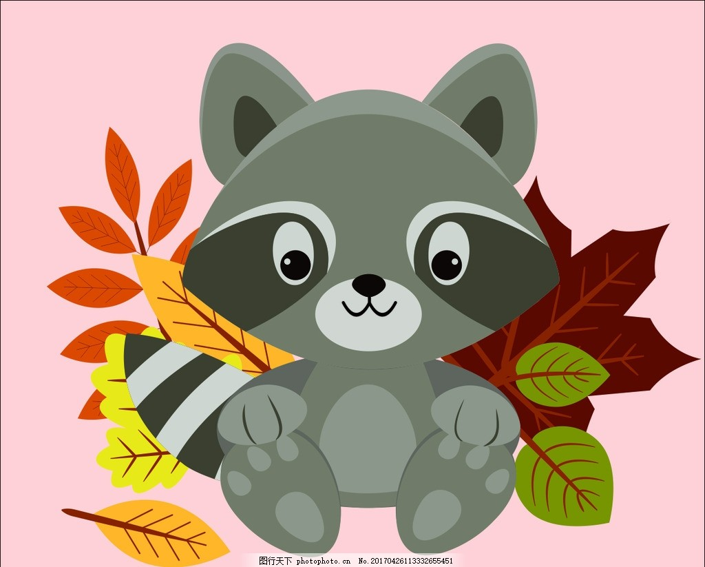 卡通狸猫 卡通 可爱 小动物 狸猫 矢量 树叶 卡通矢量素材 设计 动漫