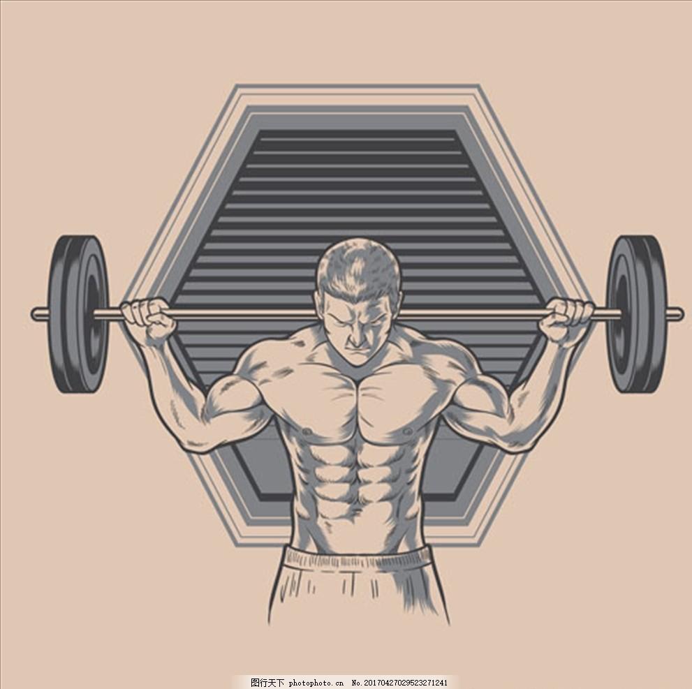 手绘健身健美的男子 健身海报 健身传单 健美海报 健身美女 瑜伽健身