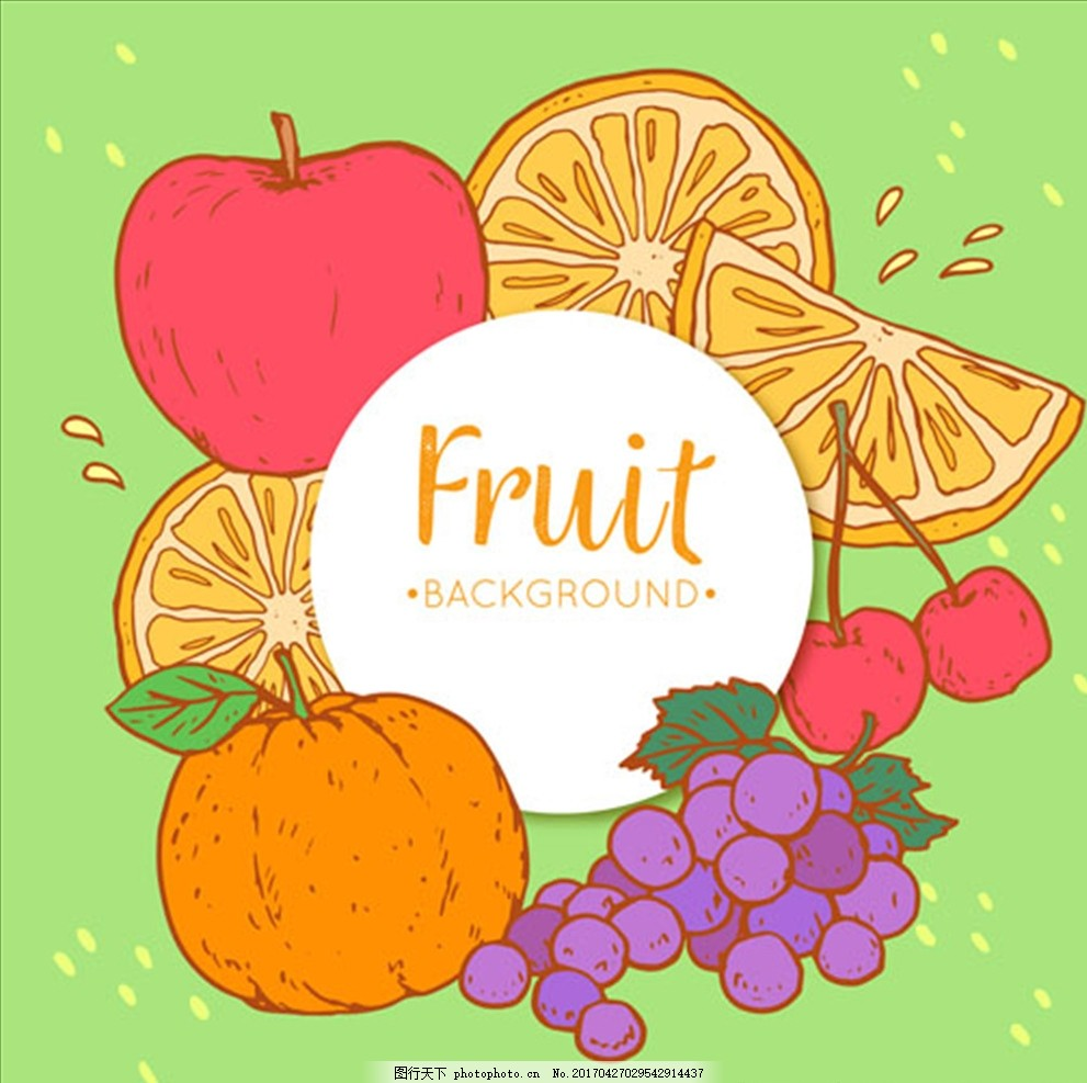 手绘装饰水果背景