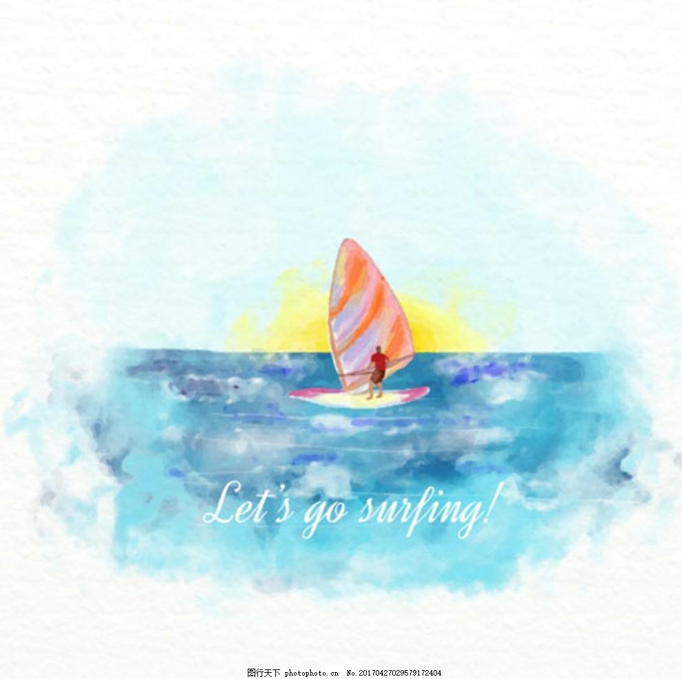 手绘水彩帆船比赛俱乐部插图