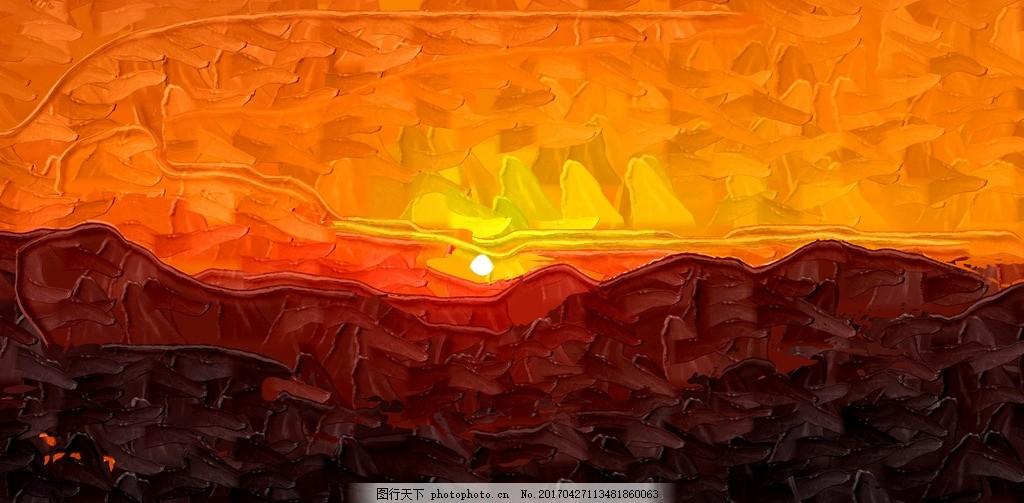 油画风景 夕阳余晖 风景油画 室内装饰画 酒店装饰油画 油画景色