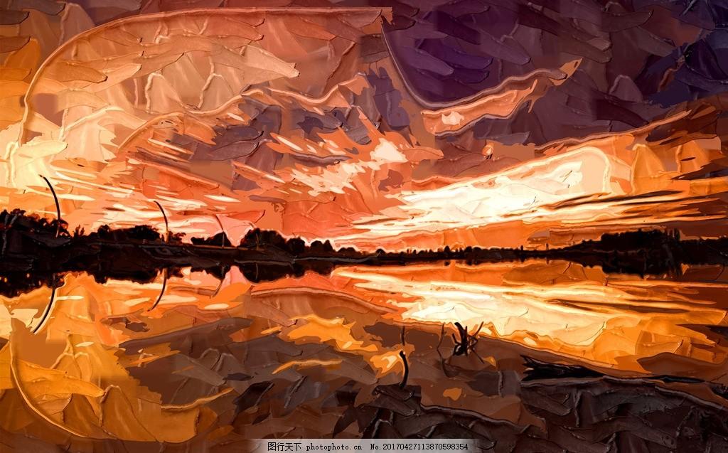 油画风景 风景油画 室内装饰画 酒店装饰油画 油画景色 夕阳 云彩