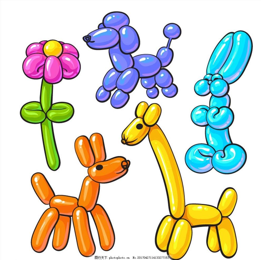 5款彩色动植物气球矢量素材 气球 动物 花 长颈鹿 兔子 植物 狗 贵宾