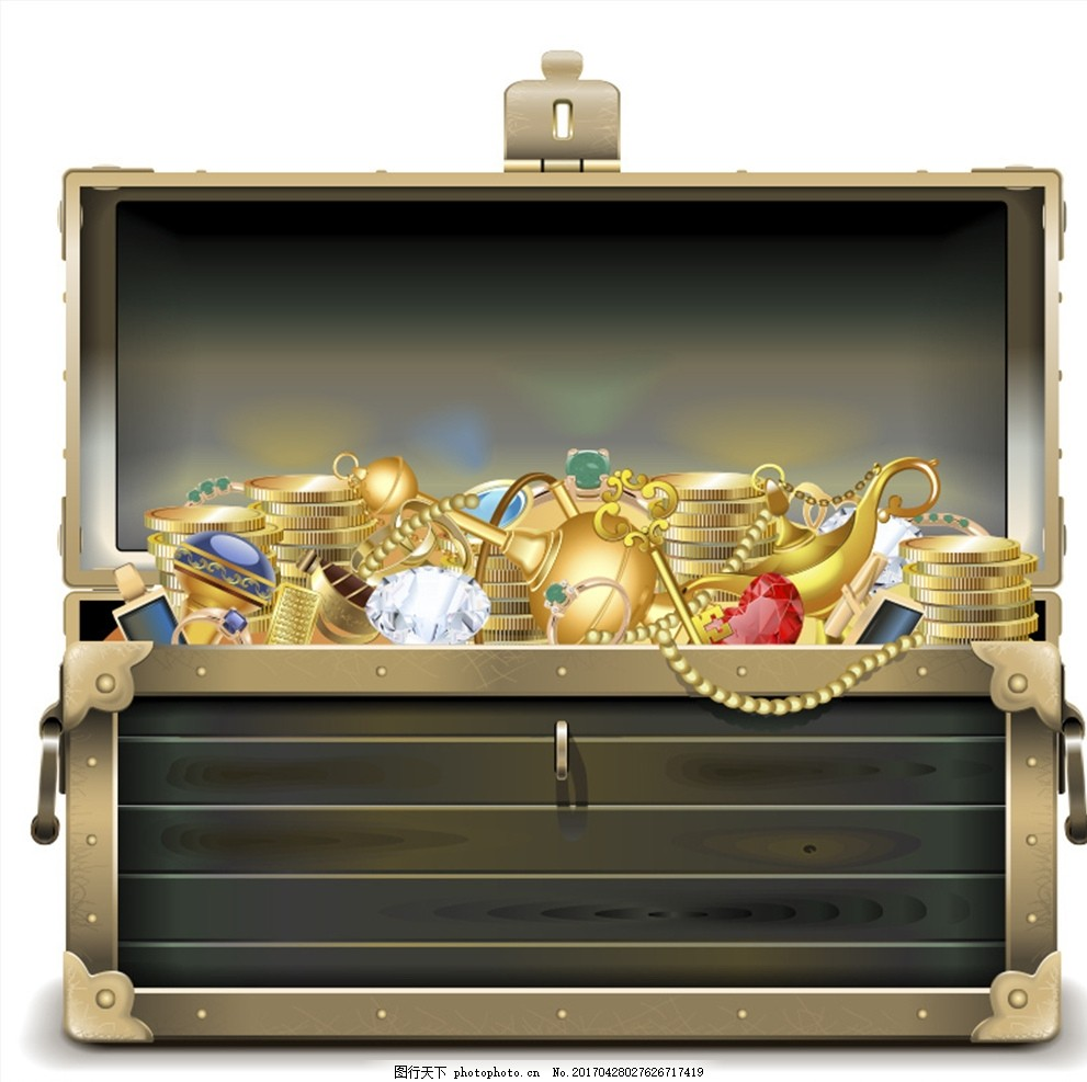 打开的宝箱和里面的金银珠宝